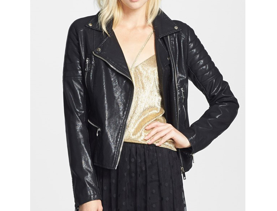 Take a break from your normal trench and dress up your look with a faux leather jacket