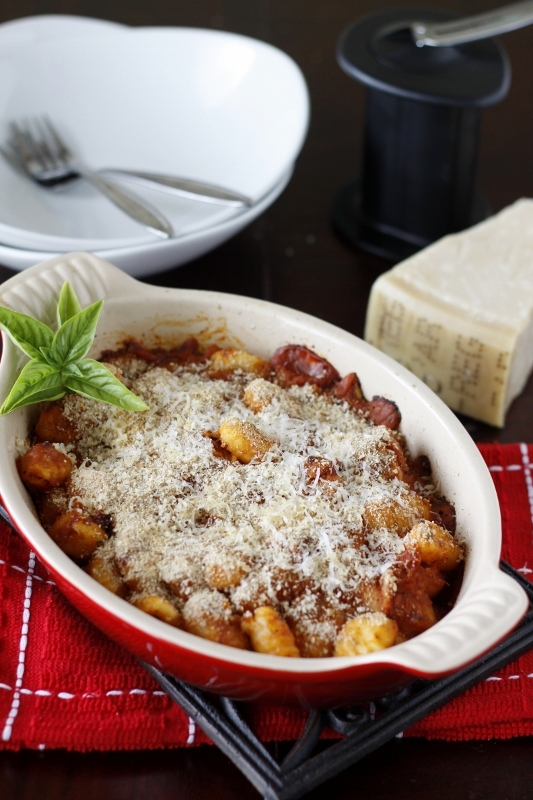 baked gnocchi with two cheeses