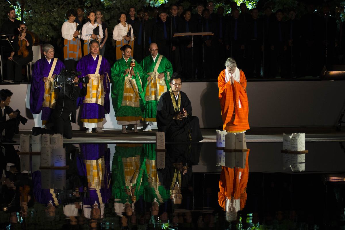 Shinnyo Buddhist Lantern Floating Lights Up Reflecting Pool At