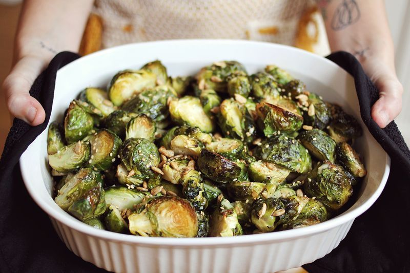 Get the Mustard Brussels Sprouts recipe by A Beautiful Mess