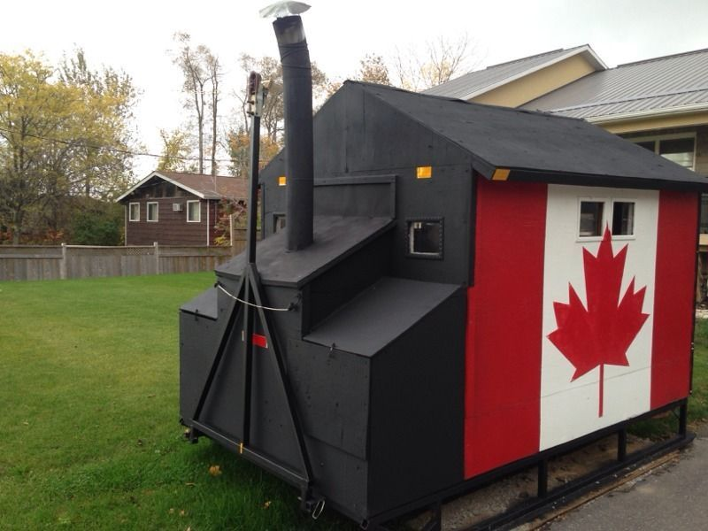 Canadian ice hut lets you show patriotism with pride for Ice fishing huts for sale