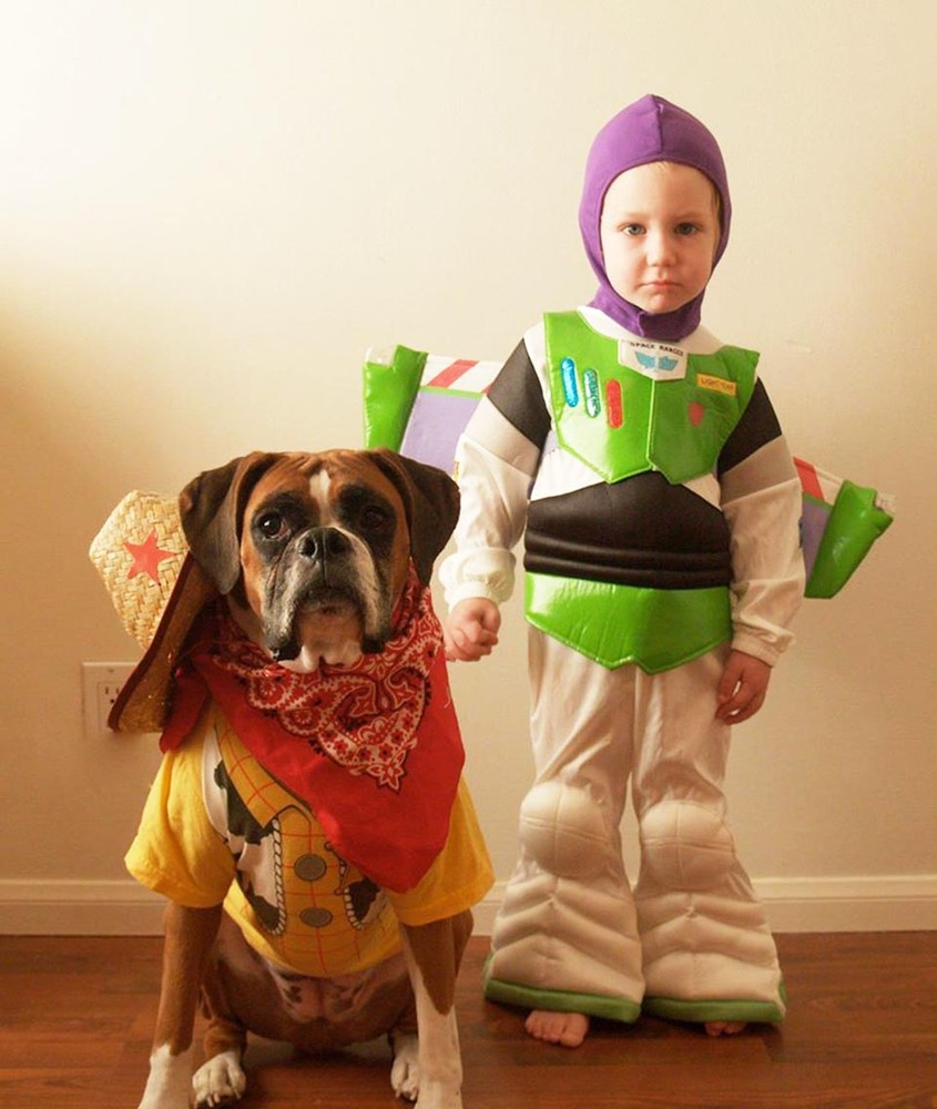 Adorable Boy And His Dog Coordinate Halloween Costumes