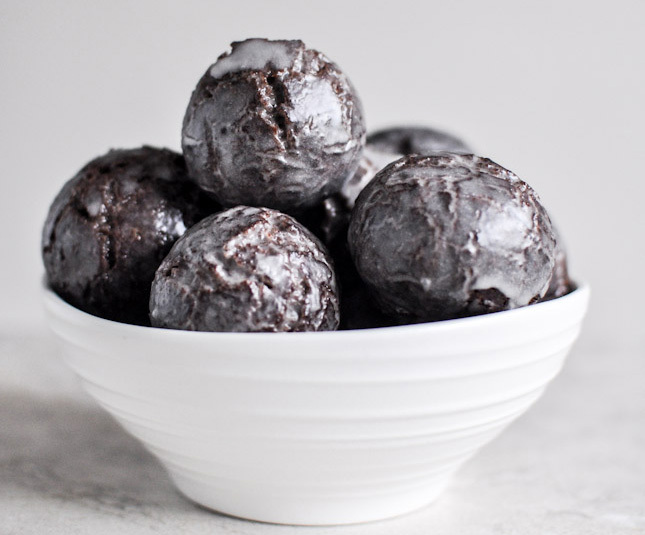 Get the Glazed Chocolate Cake Donut Holes recipe by How Sweet It Is