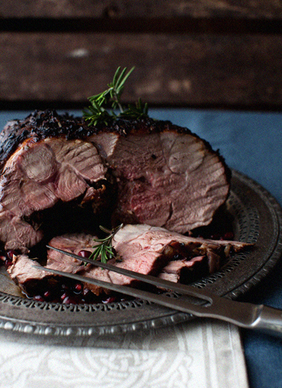 33 roasted lamb in herbs and pomegranate marinade
