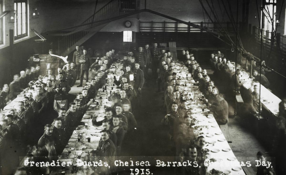 Christina Broom/Museum of London Grenadier Guards raise a glass at Chelsea Barracks, Christmas Day, 1915
