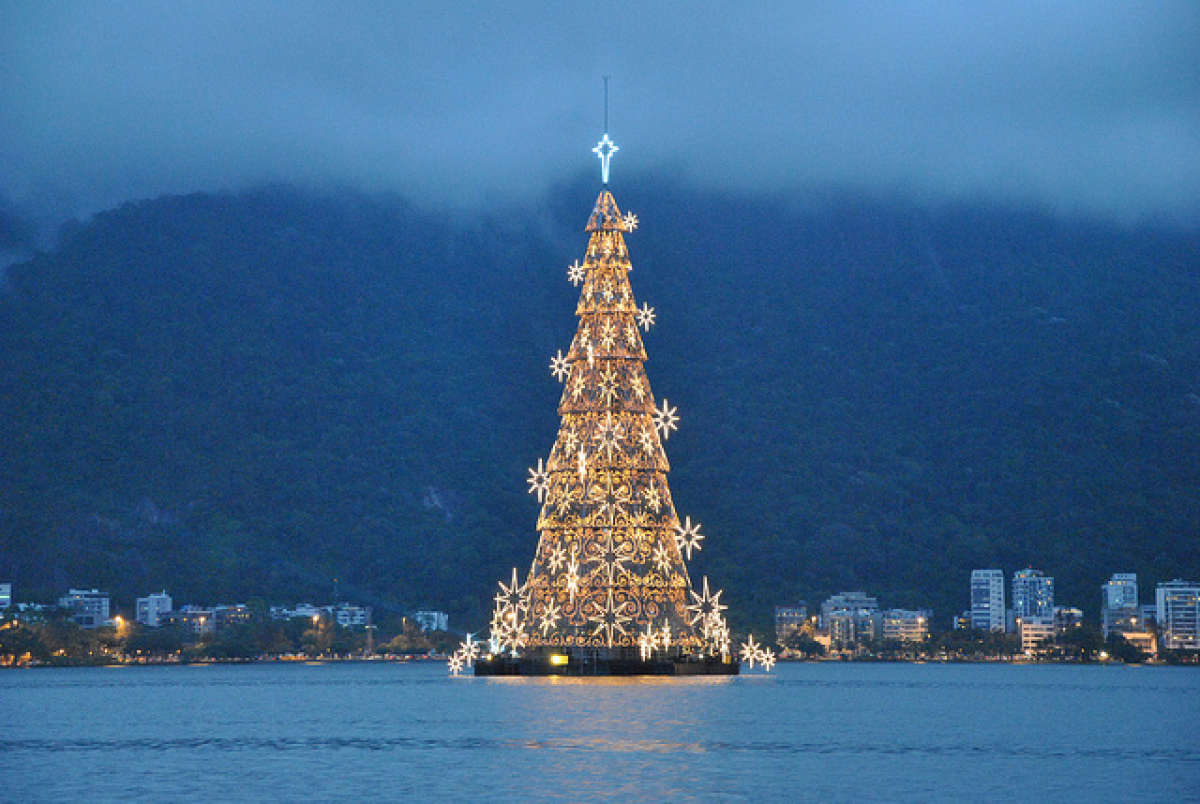 Rio De Janeiro Is Home To The Worldu0027s Largest Floating Christmas U201ctree.u201d  Although The Tree Doesnu0027t Technically Have Roots, The Impressive Man Made  Structure ...