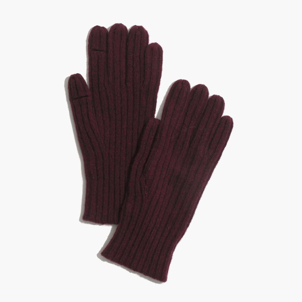 Mens down gloves - Ribbed Texting Gloves