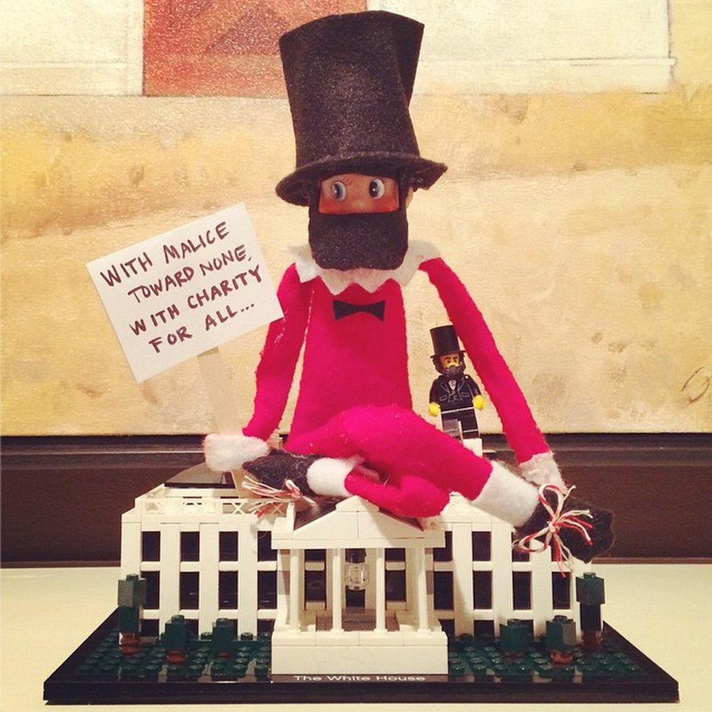 elf on the shelf dressed as Abraham Lincoln
