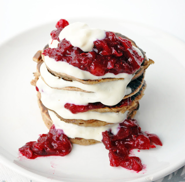 Get the Chestnut Pancakes With Cranberry Compote recipe from Including ...