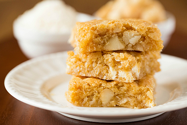 Get the Macadamia Nut, Coconut & White Chocolate Blondies recipe from ...