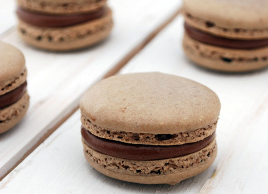 Get the Chocolate & Nutella Macarons recipe from Cake & Allie