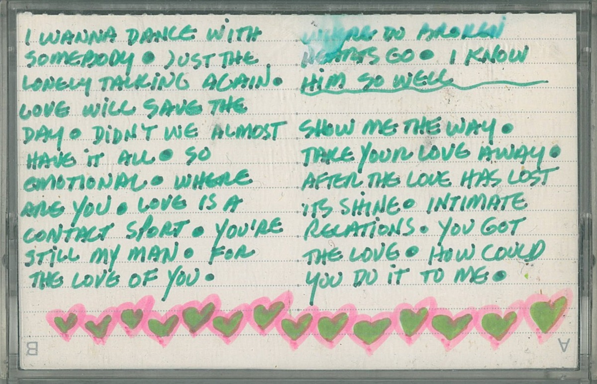 from inside a cassette found in a box of books nothing says i love you like whitney houston