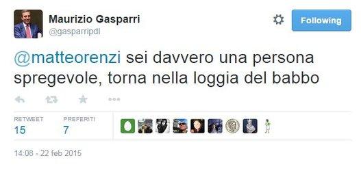 Gasparri, valange di insulti (via twitter) a Matteo Renzi!