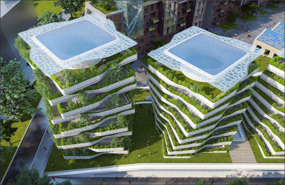 Ville du futur l 39 architecte vincent callebaut imagine l for Architecture futuriste ecologique