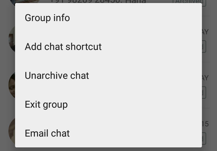 shortcut to a chat or group to your home screen