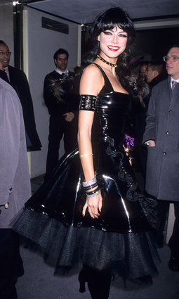Heidi Klum in goth S&M costume