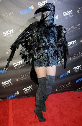 Heidi Klum as a black crow