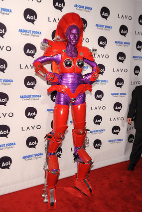 Heidi Klum as a red and purple Transformer