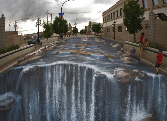 3-D Sidewalk Waterfall
