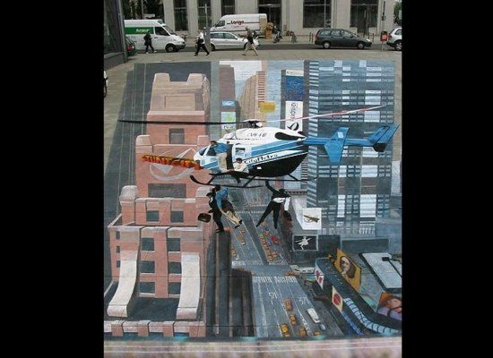 3-D Helicopter in city