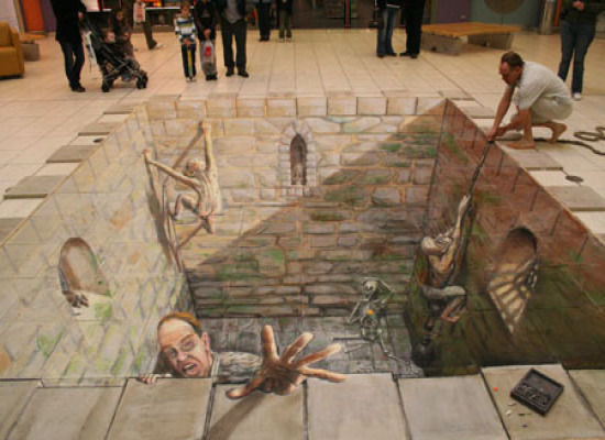 3-D Sidewalk Dungeon Art