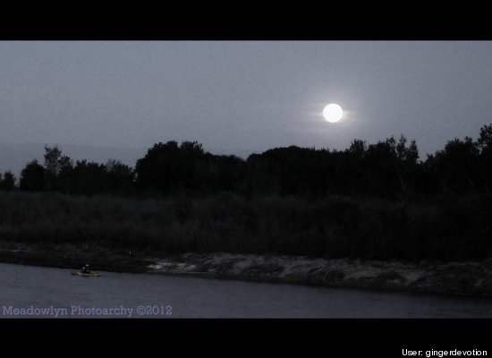 Kayaker & Super Moon