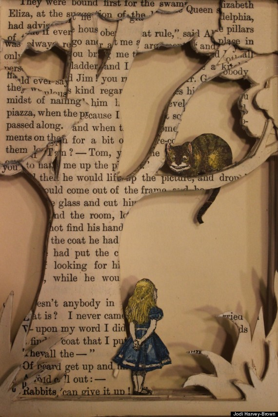 Sculptures made from books by jodi harvey brown Alice and wonderland art projects