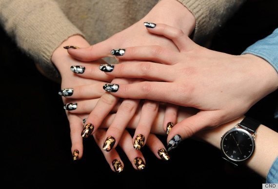 Tarnished Metallic Manicures At Michael Van Der Hams Fall 2013 Show