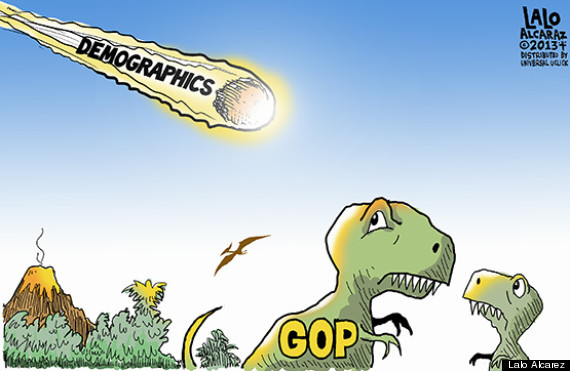 gop dinos meteor demographics cartoon