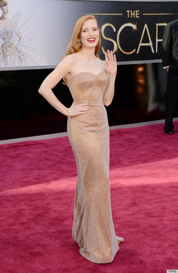 Jessica chastain oscar dress 2013 see the star 39 s red carpet look photos huffpost - Red carpet oscar dresses ...