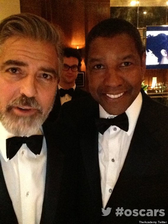 george clooney denzel washington self shot