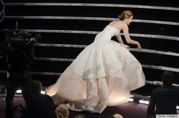 jennifer lawrence trips oscars