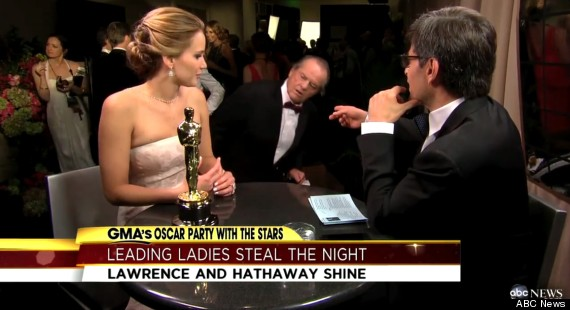 jennifer lawrence oscar interview interrupted by j