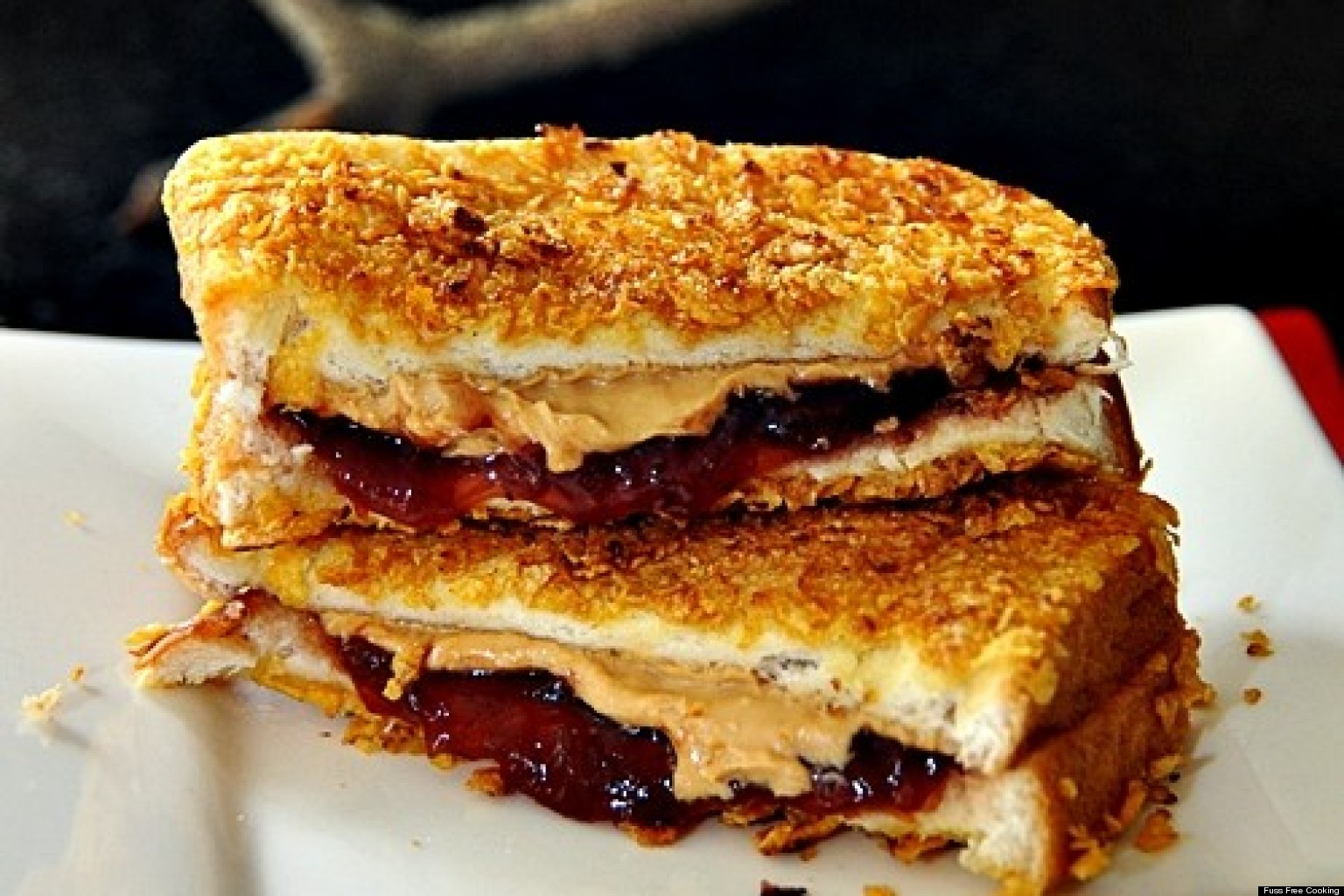 Grilled Peanut Butter And Jelly Crusted With Cornflakes By Fuss Free ...