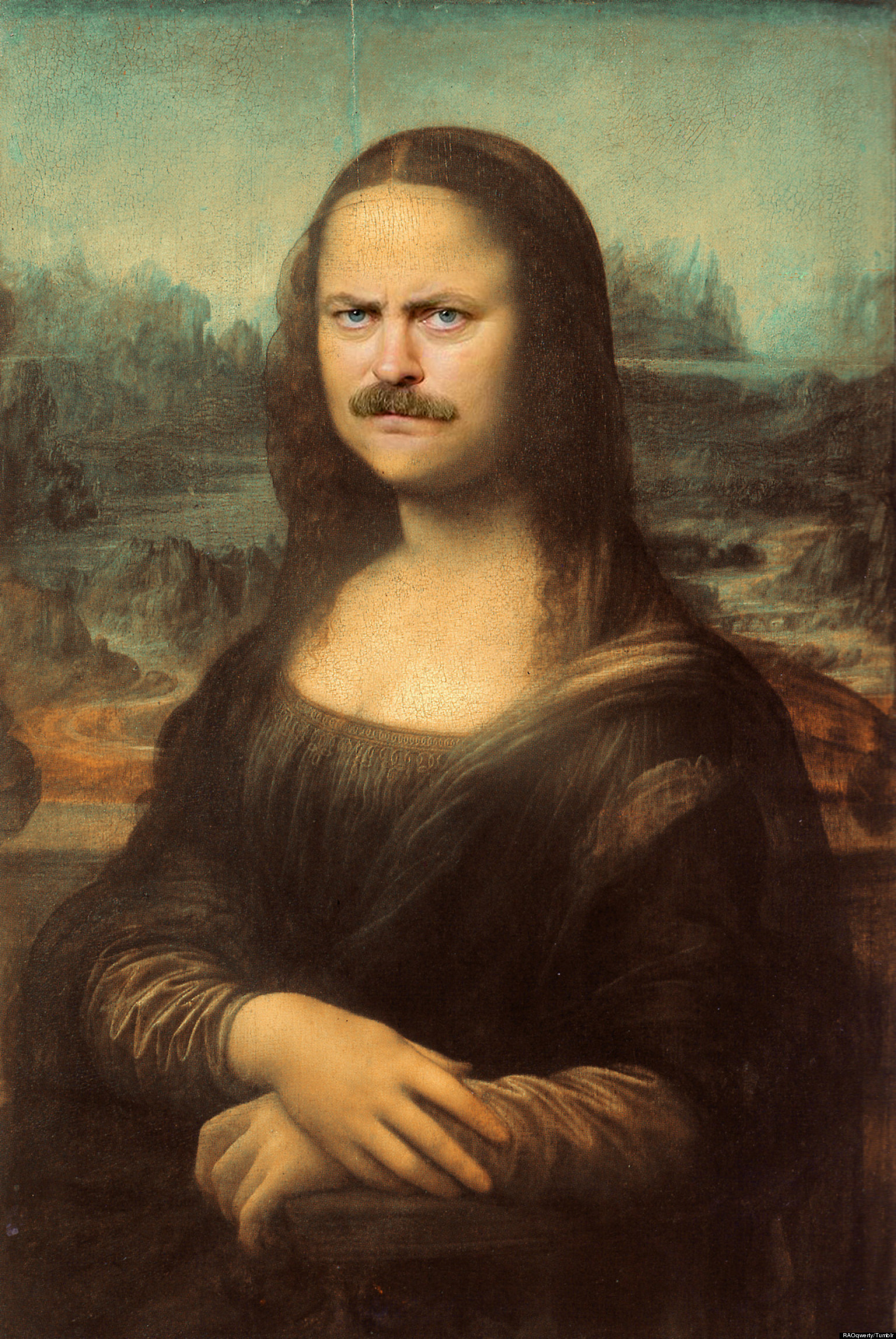 Ron Swanson Mona Lisa: A Hilarious Pop Culture Mashup That ... Da Vinci Mona Lisa