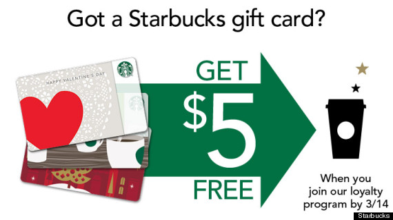 Starbucks offers free 5 to gift card holders that register to my starbucks free negle Images