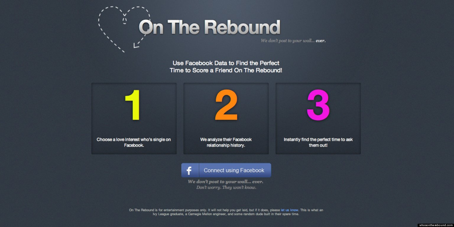 39 on the rebound 39 app analyzes facebook relationship. Black Bedroom Furniture Sets. Home Design Ideas