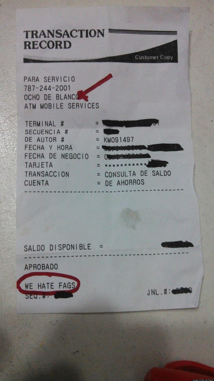 Puerto Rico ATM Prints Homophobic Receipt