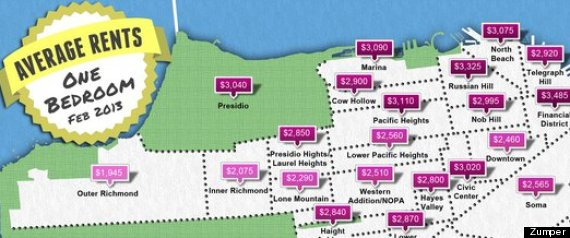 San francisco rental rates maps the average one bedrooms infographic Cost of one bedroom apartment in san francisco