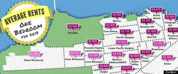 san francisco rental rates maps the average one bedrooms infographic. Black Bedroom Furniture Sets. Home Design Ideas