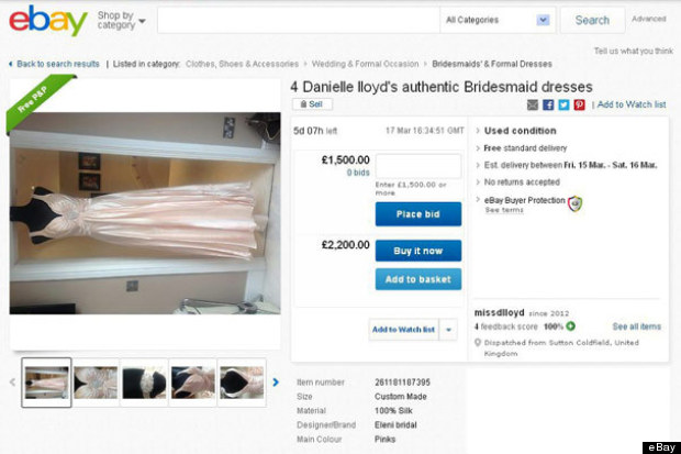 danielle lloyd sells bridesmaids dress on ebay