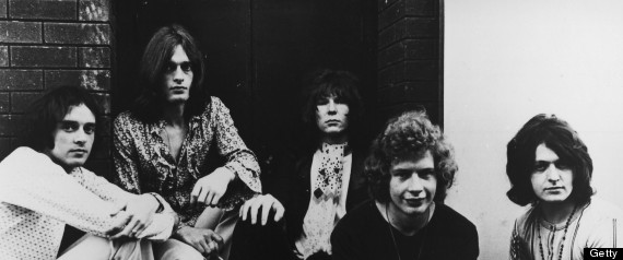 L-R: Peter Banks, Tony Kaye, Chris Squire, Bill Bruford, Jon Anderson - posed, group shot