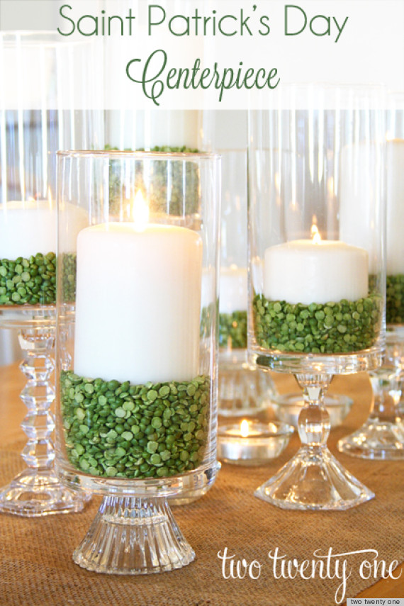 St. Patrick's Day Ideas: Make A Candle Centerpiece With Green ...