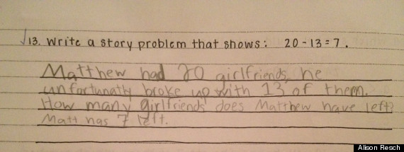 cute kid note of the day word problem