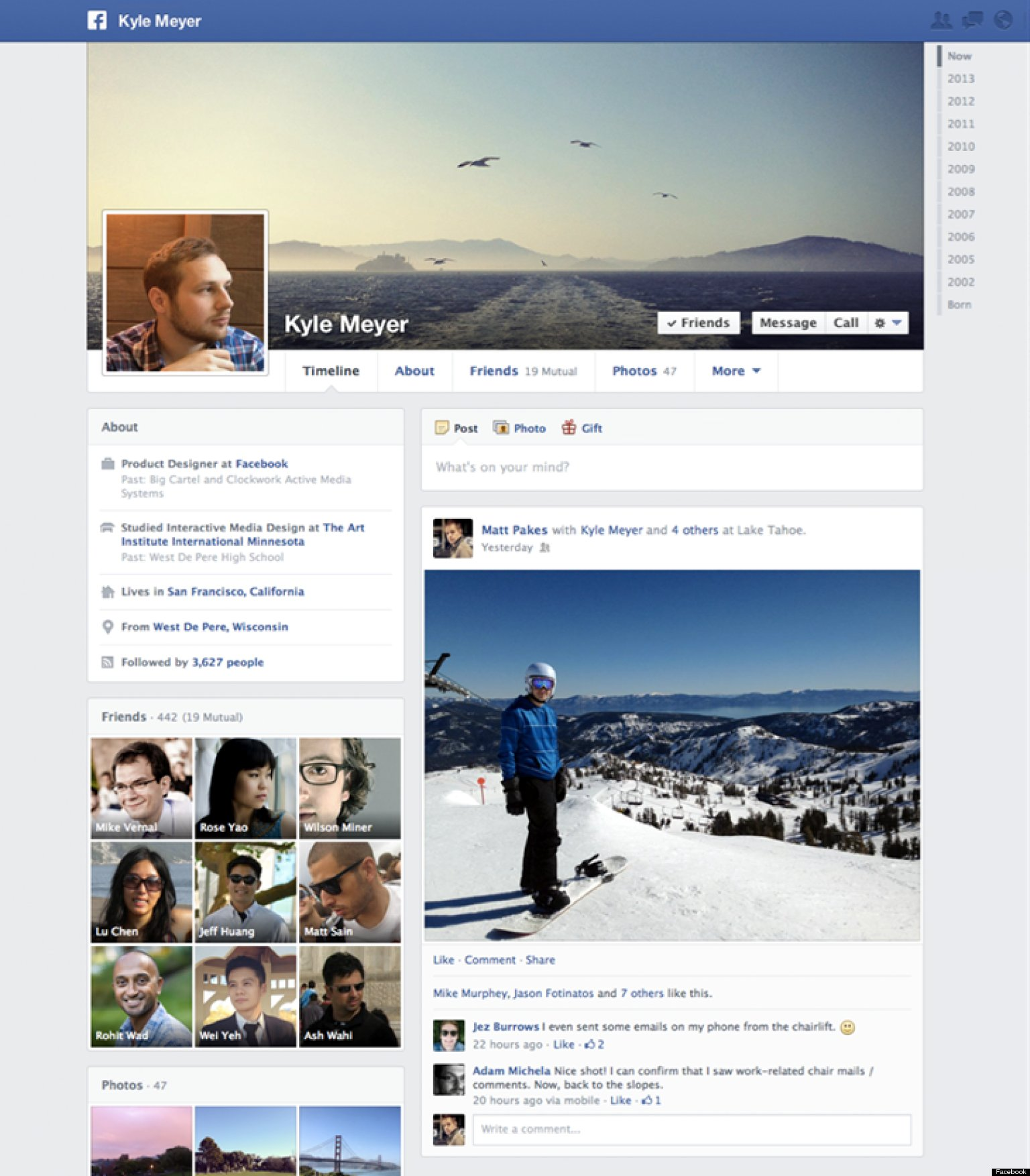 Facebook Announces 'Timeline' Profile Pages Getting a New ... Facebook Page Timeline Example