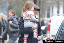 Harper Beckham Dons Bomber Jacket And Lace-Ups For Day Out With Dad