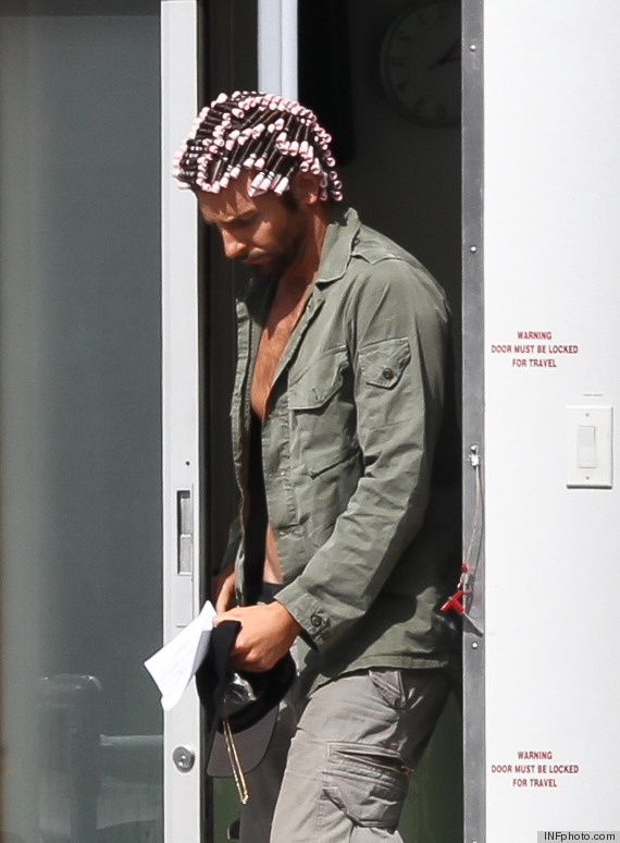 Bradley Cooper Sports Pink Rollers On Movie Set (PHOTO ...