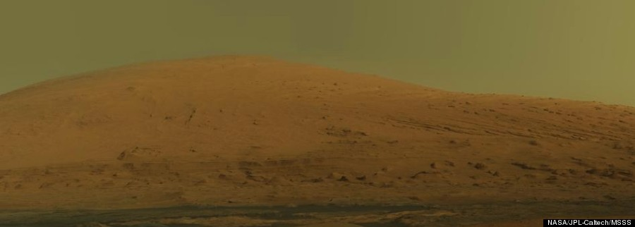 Mount Sharp As Seen By NASA's Curiosity Rover, natural colour