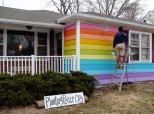 Aaron Jackson's Rainbow home in Topeka KS, right across the street from gay-hating Westboro Baptist Church.