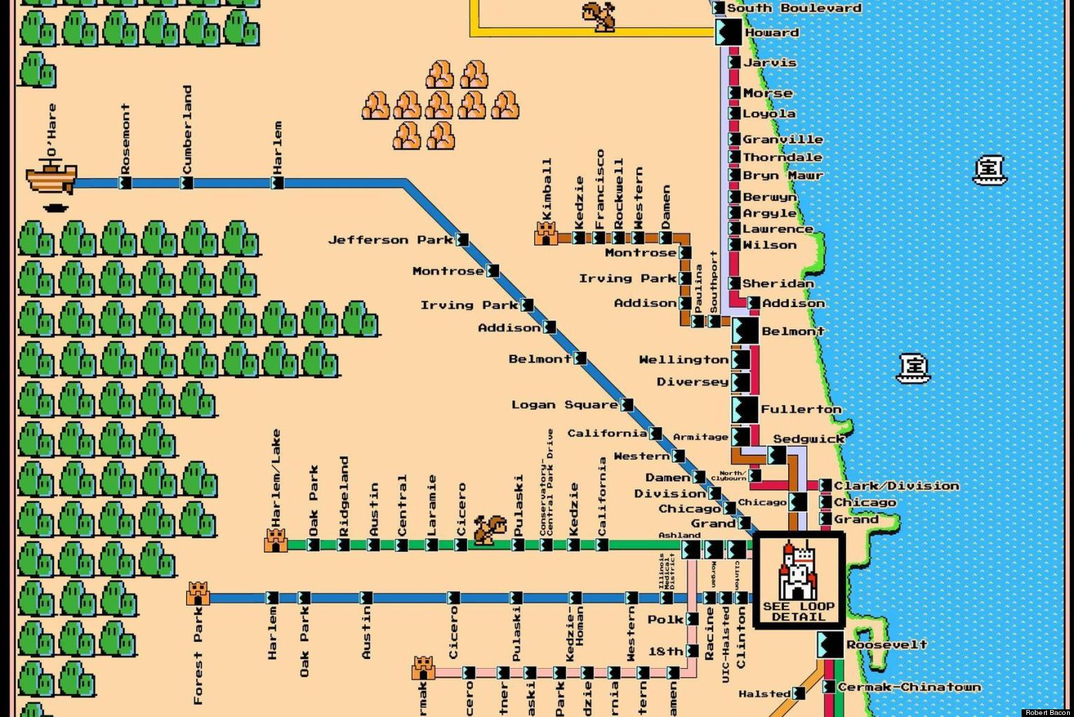 Chicago Subway Map Downtown.Famous Subway Maps Reimagined As Vintage Super Mario Brothers Games